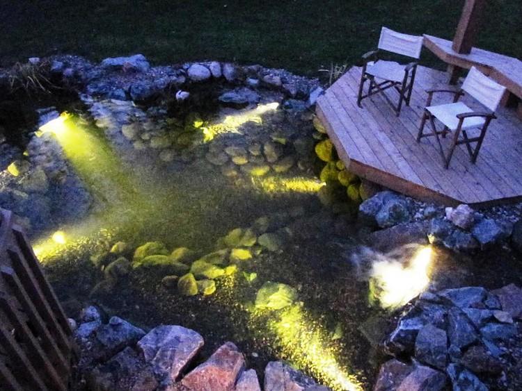 Светильники в пруду